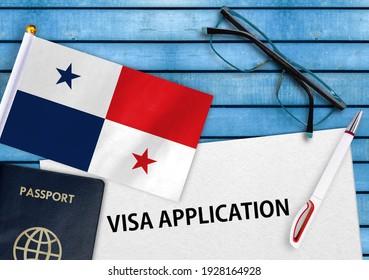 Visa application form and flag of Panama