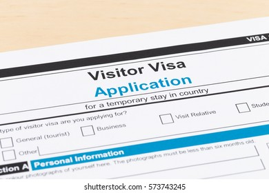 Visa application form on table close-up