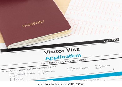 Visa application form with red passport