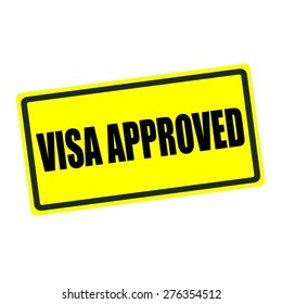 Visa approved back stamp text on yellow background