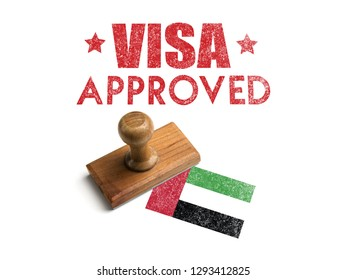 Visa Approved Rubber Stamp with UAE Flag. Isolated Wood Travel Stamp