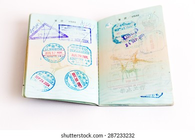 Visa and customs stamps in passports