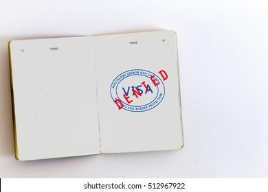 Visa denied customs stamp in passport, original design elements