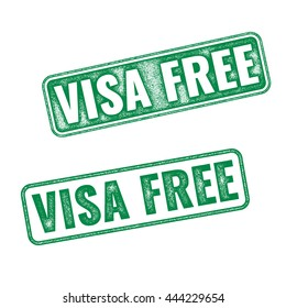 Visa free green textured rubber stamp fro travelling background