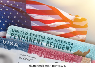VISA United States of America. Green Card US Permanent resident. Work and Travel documents. US Immigrant.  Visa for Immigration. Embassy USA. Visa in passport.