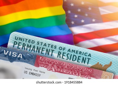 VISA United States of America. Green Card US Permanent resident. Work and Travel documents. US Immigrant. Rainbow flag symbol gays and lesbians LGBT. Embassy USA. Immigration Visa in passport.