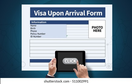 Visa Upon Arrival Form Computing Computer  flare sun, Cropped image male freelancer sitting at the table Silhouette and filter sun, on the tablet pc screen held by businessman hands - online, top view