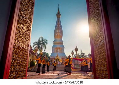 Visakha Puja Day 2019, Phra That Phanom Temple, Woramahaviharn Temple, That Phanom District, Nakhon Phanom Province. during 16 - 19 May 2019
