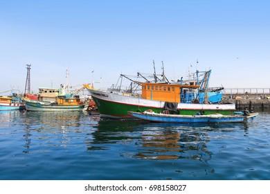 Visakhapatnam, INDIA - December 7 :Fishing harbor in Visakhapatnam was set up in 1976 spreading across 24 hectors of land . On December 7,2015 Visakhapatnam, India