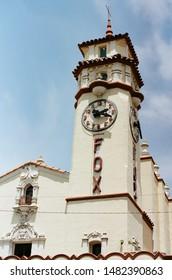 Visalia, California - May 20 2018: The historic Fox Theatre and neon clock tower, built in 1930.