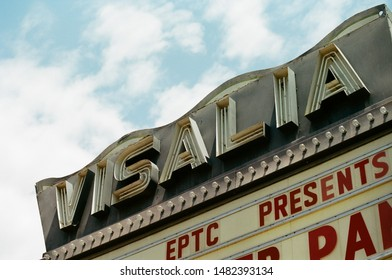 Visalia, California - May 20 2018: A neon sign and marquee for the Visalia Theater.