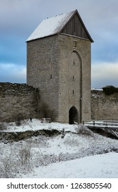 Visby City Wall at wintertime, Gotland Sweden.