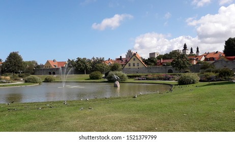Visby, Gotland, Sweden 08/20 2019. Almedalen a park near the harbor where a political festival is hold every year week 27. Started by Olof Palme. Speech and events are held and different partys meet.