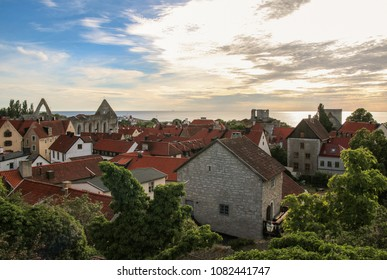 Visby Old Town in sunset, Gotland Sweden.