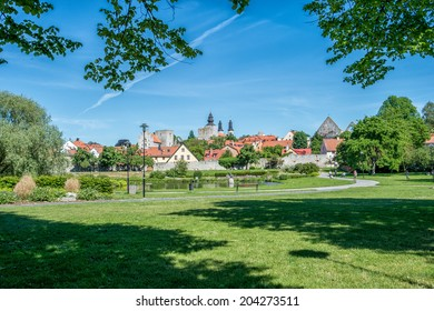 VISBY, SWEDEN - JUNE 10: Almedalen park on June 10, 2014 in Visby. Since 1982 Almedalen hosts 'politicians week' during the first week in July which gathers leading Swedish politicians and parties.