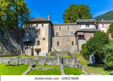 Visconteo Castle of the city center of Locarno of Ticino canton, Switzerland.