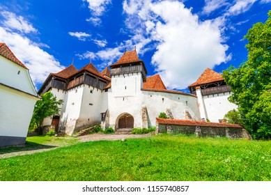 Viscri, Romania. Fortified saxon church of Transylvania, famous holiday destination in Europe.