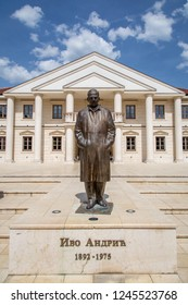 VISEGRAD, BOSNIA AND HERZEGOVINA - APRIL 14, 2018:  Monument to Ivo Andric on the square of Andricgrad