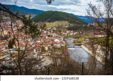 Visegrad, Bosnia and Herzegovina - March 2018: Visegrad town aerial view, Republic of Serbia, Bosnia and Herzegovina
