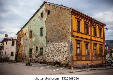 Visegrad, Bosnia and Herzegovina - March 2018: Visegrad town, old shabby houses in Visegrad, Republic of Serbia, Bosnia and Herzegovina