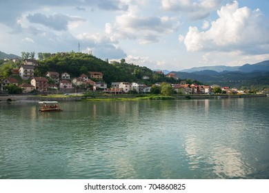 VISEGRAD, BOSNIA - MAY 28: Drina river and old Visegrad on May 28, 2017 in Visegrad, Bosnia. In this part of the town writer Ivo Andric grew up.