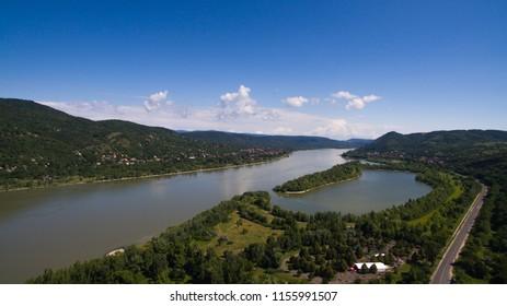 Visegrad, Dunakanyar aerial Hungary
