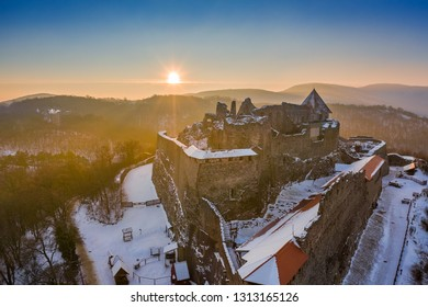 Visegrad, Hungary - The beautiful old high castle of Visegrad at sunrise on a winter morning with snow