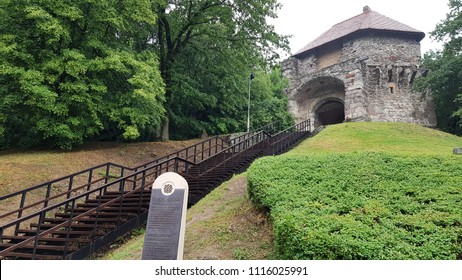 Visegrad, Hungary - May 15, 2018: Entrance of Medieval Visegrad Castle in the Danube bend. History memorial Visegrad Castle.