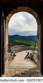 Visegrad, Hungary - September 28, 2015; View to the mountains from the Citadel