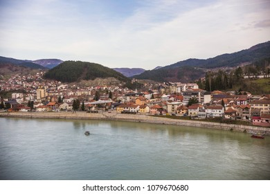 Visegrad town aerial view, Republic of Serbia, Bosnia and Herzegovina