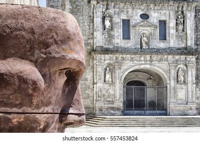 Viseu, Beira, Portugal, July 20, 2016: Viseu cathedral facade. July 20, 2016 in Viseu, Portugal
