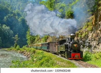 Viseu de Sus, Maramures, Romania - May 27 2018 - Steam train knowed as Mocanita from North Romania