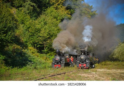 Viseu de Sus, Maramures / Romania - September 10 2020: Two steam engines from Mocanita railway used for tourists on the Water Valley