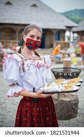 Viseu de Sus, Maramures / Romania - August 18 2020: Village museum waitress from Maramures County, Romania