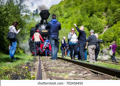 VISEU DE SUS - MAY 7: Tourists and wood-burning steam train on May 7, 2016 in Viseu de Sus, Romania. Forestry railway was used for transporting timber, now transport tourists.