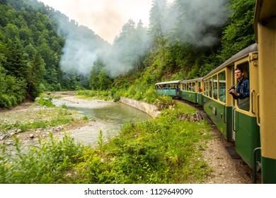 Viseu de Sus, Romania - June 12, 2018: View of the Mocanita Train, a narrow gauge steam train in Maramures County, Romania