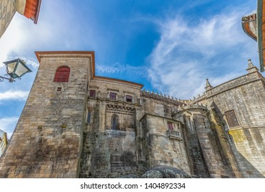Viseu / Portugal - 04 16 2019 : Detailed view at the back facade of the Cathedral of Viseu, Sé Catedral de Viseu, architectural icon of the city of Viseu, Portugal