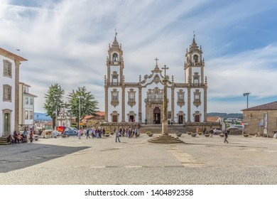 Viseu / Portugal - 04 16 2019 : View at the front facade at the Church of Mercy, Igreja da Misericordia, baroque style monument, architectural icon of the city of Viseu, in Portugal