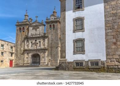 Viseu / Portugal - 04 16 2019 : View at the front facade of the Cathedral of Viseu, Adro da Sé Cathedral de Viseu, architectural icon of the city of Viseu, Portugal
