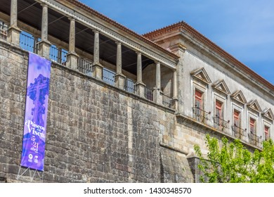 Viseu / Portugal - 04 16 2019 : View at the Cathedral of Viseu, Sé Cathedral de Viseu, D. Duarte plaza, renascence columns gallery , architectural icon of the city of Viseu, Portugal