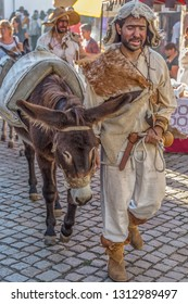 Viseu / Portugal - 10/02/2018 : Street theater spectacle show, with actors walking the streets dressed in middle-aged costumes and holding donkeys also decorated with elements of the time