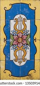 VISEU, PORTUGAL - CIRCA FEBRUARY 2019: Ceramic tiles in Viseu. The origins of the city of Viseu date back to the Celtic period.