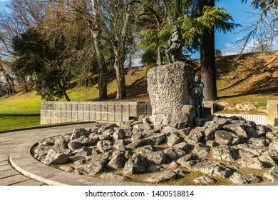 VISEU, PORTUGAL - CIRCA FEBRUARY 2019: Cava de Viriato statue, Lusitanian military chief led the people against the dominion that Rome exerted in the Iberian Peninsula.