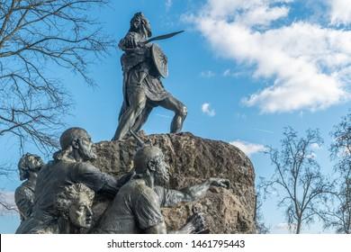 VISEU, PORTUGAL - CIRCA FEBRUARY 2019: Cava de Viriato statue, Lusitanian military chief led the people against the dominion that Rome exerted in the Iberian Peninsula
