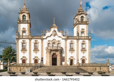 VISEU, PORTUGAL - CIRCA FEBRUARY 2019: View at the front facade at the Church of Mercy, Igreja da Misericordia, baroque style monument, architectural icon of the city of Viseu, in Portugal.