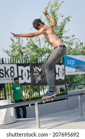 VISEU, PORTUGAL - JULY 27, 2014: Daniel Pinto during the 2nd Stage DC Skate Challenge by Fuel TV.
