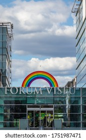 Viseu , Portugal - June 08 , 2020 : rainbow symbol in the forum shopping center in Viseu, let's be all right, covid 19 pandemic