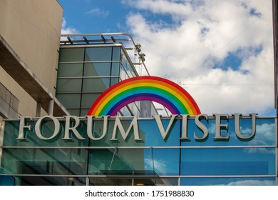 Viseu , Portugal - June 08 , 2020 : rainbow symbol in the forum shopping center in Viseu, let's be all right, covid 19 pandemic. Cloudy sky with Rainbow
