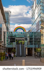 Viseu , Portugal - June 08 , 2020 : Shopping center in the city of viseu, with the rainbow symbol at the top, motivated due to the covid 19 pandemic, shopping center with rainbow symbol