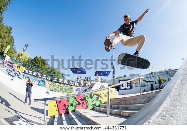 VISEU, PORTUGAL - JUNE 26, 2016: Pro skateboarder Daniel Fernandes during the 1st Stage of DC Skate Challenge by Moche.